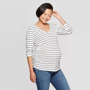 Maternity Long Sleeve Shirred V Neck T-Shirt
